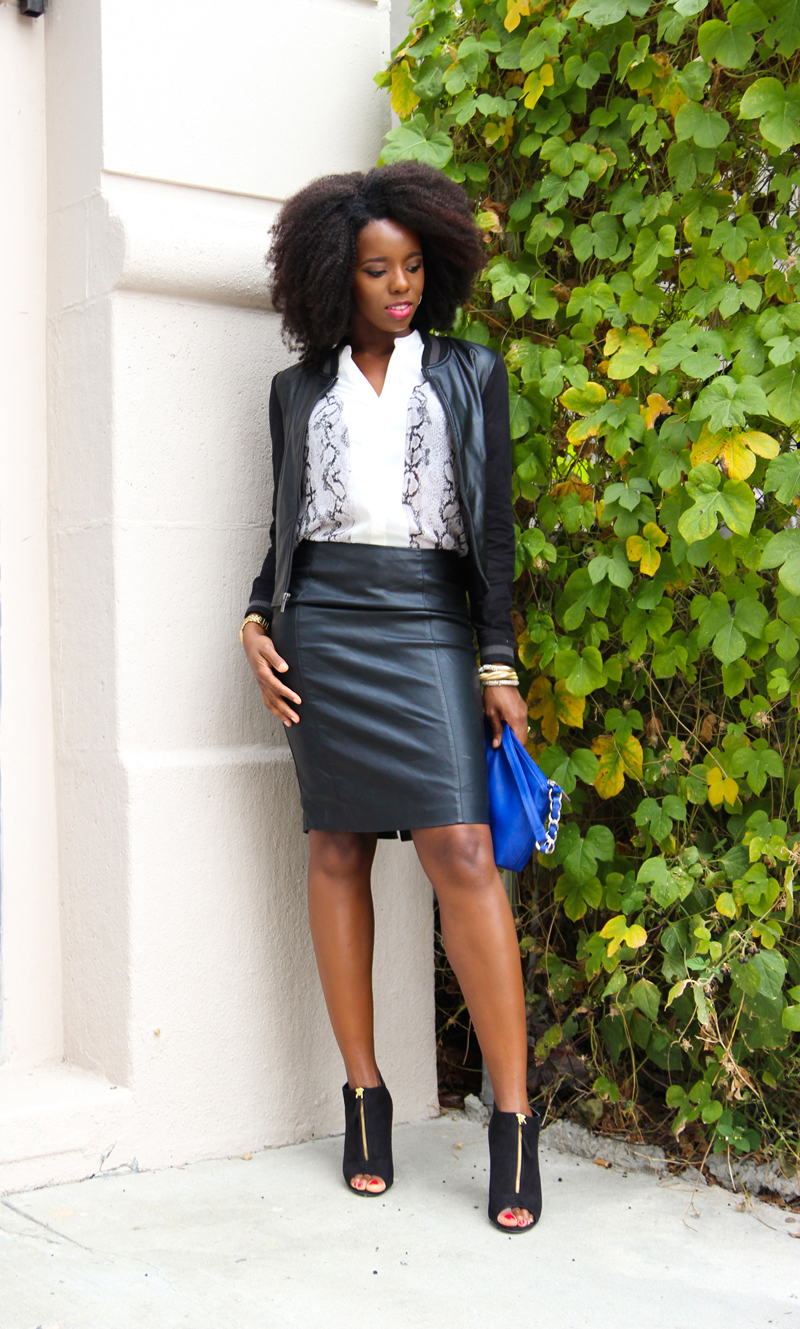 What To Wear With A Faux Leather Skirt